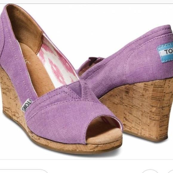 Toms Shoes Purple Wedges Poshmark
